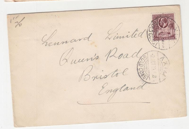 GOLD COAST, 1929 cover KGV 1d., AXIM to GB.