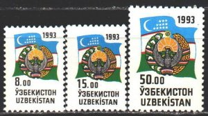 Uzbekistan. 1993. 30-32  from the series. Coat of arms and flag of Uzbekistan...