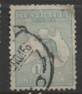Australia - Scott 51 - Kangaroo -1913 - FU - Wmk 10 - 1/- Stamp4