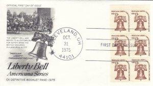 1975, Liberty Bell Booklet Pane/6, Artcraft, FDC (E7595)