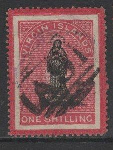 VIRGIN ISLANDS SG18 1867 1/= BLACK & ROSE-CARMINE(WHITE PAPER) USED