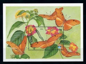 [98813] St. Vincent 1992 Insects Butterflies Souvenir Sheet MNH