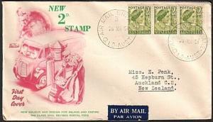 AUSTRALIA 1951 2d def strip of 3 on commem FDC...........................18008