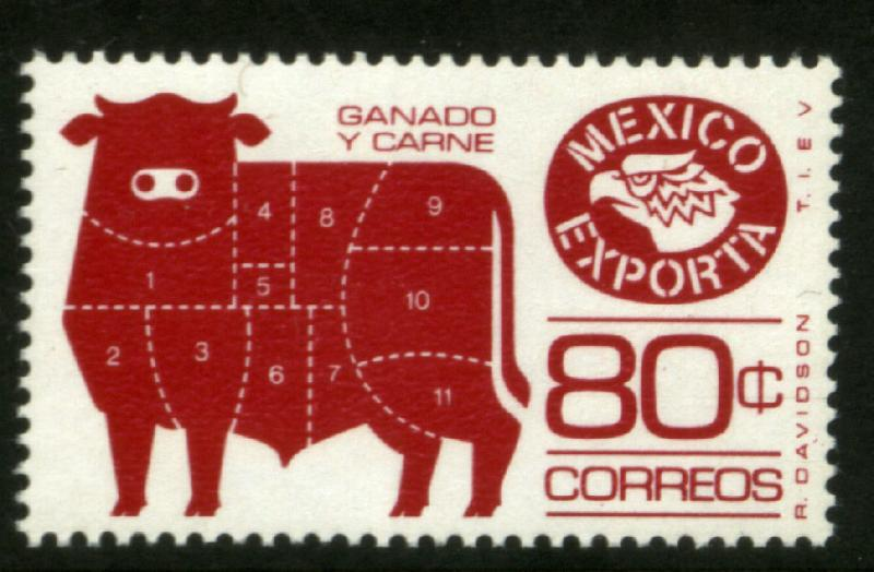 MEXICO Exporta 1113 80c Cattle meat Unwmkd Fosfo Paper 5 MNH