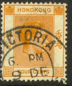HONG KONG 1938-48 KGVI 4c Orange Portrait Issue Sc 156 VFU