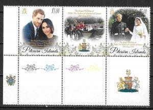 Pitcairn Islands 846 Prince Harry Wedding Strip MNH
