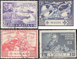 Malta #225-228, Complete Set(4), 1949, UPU, Used