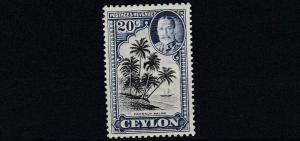 CEYLON  1935 - 36     S G 374  20C BLACK & BLUE GREY      MH