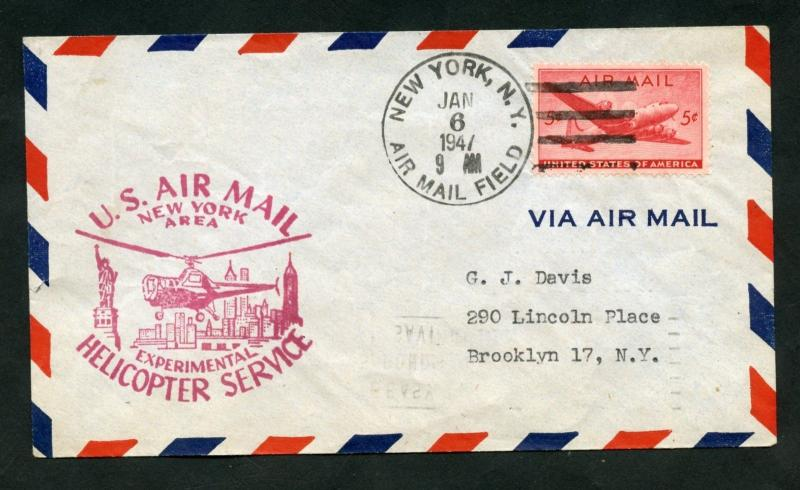 UNITED STATES LOT OF 3 1947  1949 1st  HELICOPTER AIRMAIL SERVICE  FLIGHT COVERS