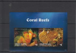Union Island Grenadines St Vincent 2014 MNH Coral Reefs 2v S/S Marine Orange Cup