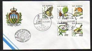 San Marino, Scott cat. 1216-1220. B/fly, Bird, Lizard issue. First day cover.