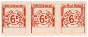 (I.B) Cambrian Railways : Prepaid Parcel 6d (small format)