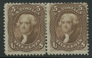 #76 5c 1863 HORIZONTAL PAIR F-VF OG HR WITH PF CERT CV $2,900 AU646