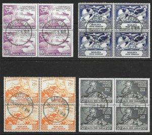 MALAYA NEGRI SEMBILAN SG63/6 1949 U.P.U. SET USED BLOCKS OF 4
