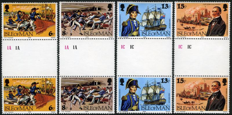 Isle of Man 158-161 gutter pairs, MNH. John Quilliam, British naval hero, 1979