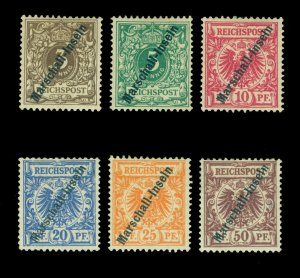 German Colonies - MARSHALL ISLANDS 1897  SURCHARGED set  Scott # 1-6  mint MH