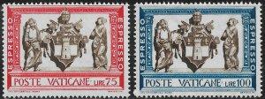 Vatican City Special Delivery Stamp Set - Scott #E15-E16/SD7 OG MNH 1960