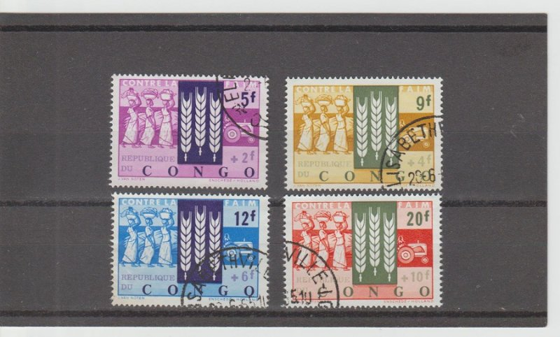 Congo Democratic Republic  Scott#  B48-B51  Used  (1963 Freedom from Hunger)