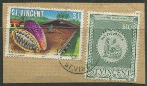 STAMP STATION PERTH St.Vincent #? On paper 2 stamps Used CV$