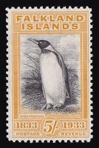 FALKLAND ISLANDS 1933 Centenary 5/- King Penguin RARE MNH ** !