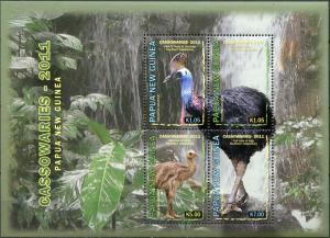 Papua New Guinea. 2011. Birds. Cassowaires (MNH OG) Miniature Sheet