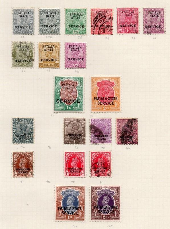 INDIA PATIALA STATE GEORGE V & VI SERVICE COLLECTION - MINT & USED cv 7500 rs+