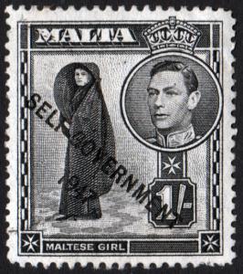 Malta KGVI 1948 1/- 1s Black SG243 Used