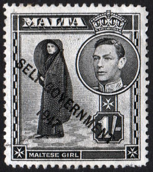 Malta KGVI 1948 1/- 1s Black SG243 Used