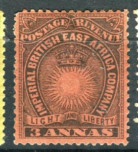 BRITISH EAST AFRICA; 1890 classic Company issue fine Mint hinged 3a. value