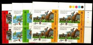 HONG KONG SG798/801 1995 INTERNATIONAL SPORTING EVENTS PLATE BLOCKS OF 4 MNH
