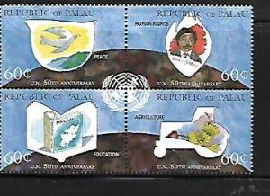 PALAU, 374, MNH, BLOCK OF 4, U. N ANNIVERSARY