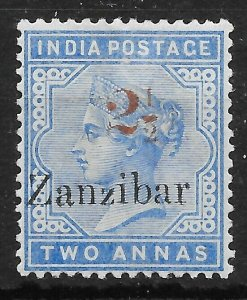 ZANZIBAR SG40 1896 2½ ON 2a DULL BLUE MTD MINT