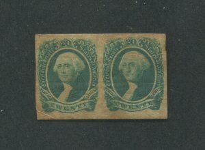 1864 Confederate Postage Stamp #13 Mint Pair