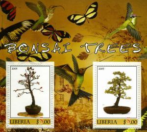 Liberia 2005 BUTTERFLIES Bonsai Trees Colibri s/s Perforated mnh.vf