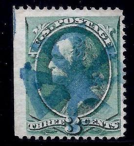 USA [D1] Classic Fancy Cancel = SON Blue Eight-spoke PINWHEEL