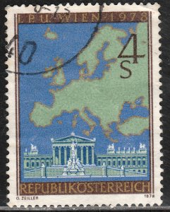 AUSTRIA 1080, PARLIAMENT AND MAP OF EUROPE. Used. F-VF. (322)