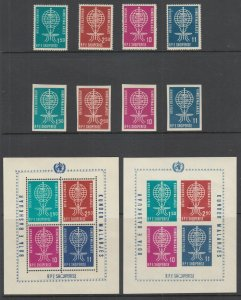 Albania Mi 650A/BL7B MNH. 1962 Anti-Malaria, perf & imperf Stamps & Souv Sheets
