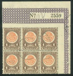 MEXICO 719, $1P COAT OF ARMS 1934 DEFINITIVE BLOCK OF SIX. USED. F-VF. (80)
