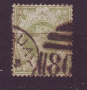 J19726 Jlstamps 1887-92 great britain used #122 1sh queen $72.50 scv