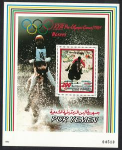 Yemen Horses Olympic Games Los Angeles MS Coloured Frame Rare SG#MS300 CV£20+