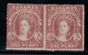 Bahamas #2 (SG #4) Mint Unused (No Gum) Rare Pair **With Certificate**