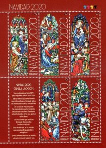 2020 Christmas Nöel Uruguay MNH ** sheetlet stained glass birth Angels Neogothic