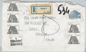 59495 -  IRELAND Eire - POSTAL HISTORY: REGISTERED COVER to ITALY - TAXED! 1989