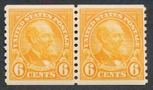 UNITED STATES 723 MINT F-VF NH COIL PAIR 6c GARFIELD