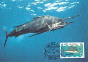 Nauru 1997 Maxicard Sc #443c 40c Pacific sailfish WWF