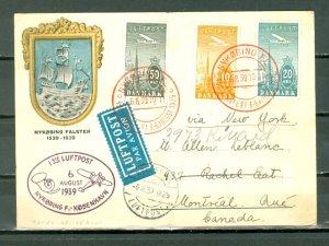DENMARK 1939 AIR #C7-8-9 on NICE 1st FLIGHT  AIR CARD to CANADA...CACHET