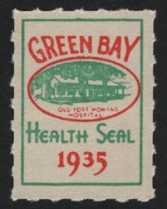UNITED STATES 1935 Green Bay Health Seal Cinderella   - BARNEYS