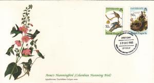 British Virgin Islands 1985 FDC Scott #521, #522 Passenger pigeon, Yellow-bre...