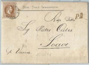 69822 - AUSTRIA  - POSTAL HISTORY - COVER from INNSBRUCK to ITALY  1871