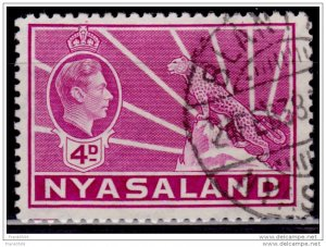 Nyasaland 1938-44, KGVI and Leopard, 4p, sc#59, used